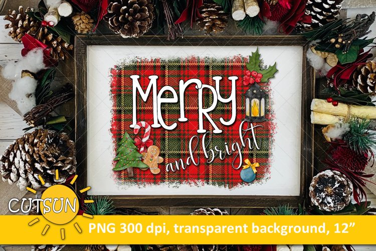 Christmas sublimation design Merry And Bright plaid example image 1