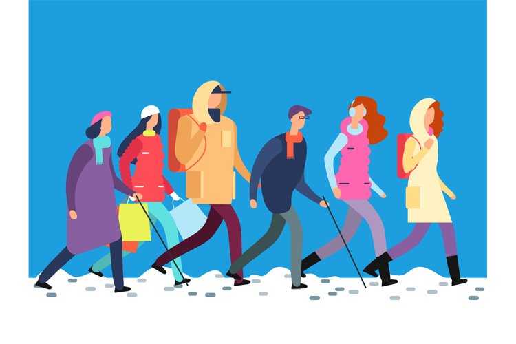 People in winter clothes. Cartoon man and woman, teenagers w example image 1