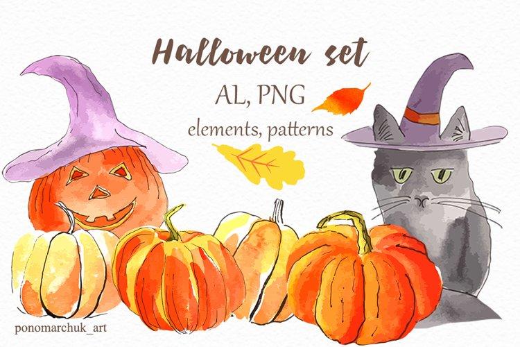 Halloween watercolor set. Vector example image 1