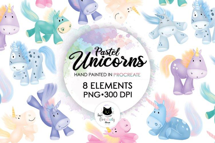 Pastel Unicorn Clipart | Animal Nursery Sublimation Bundle example image 1