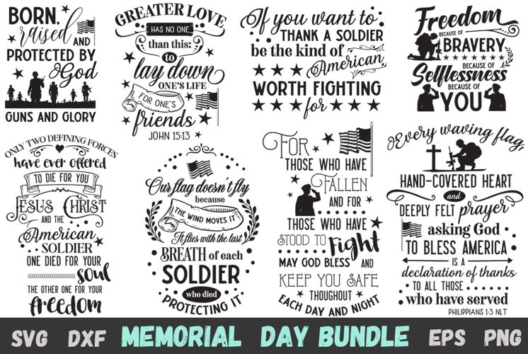 Memorial Day SVG Bundle - Black and White Version Included