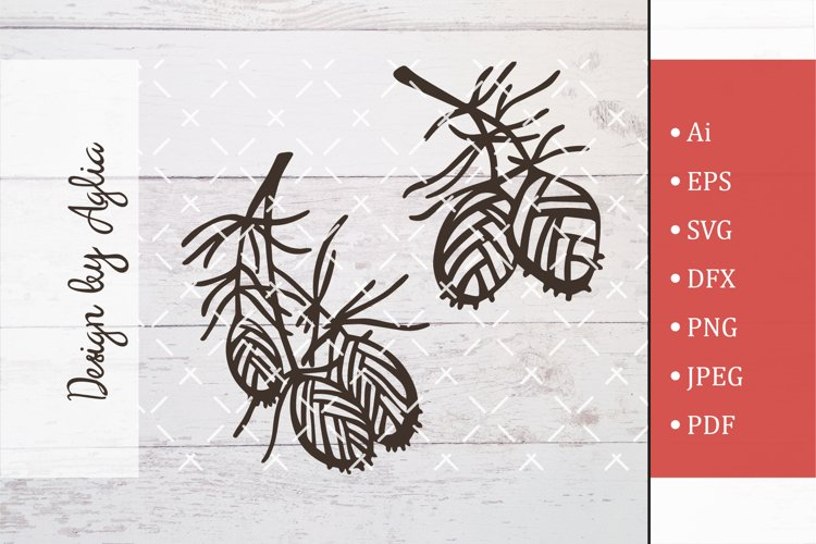 Christmas Tree Svg, Xmas tree Cut File, Branch with cones