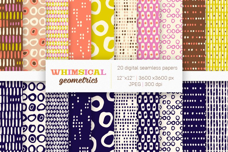 20 Whimsical Digital Papers, Seamless Patterns