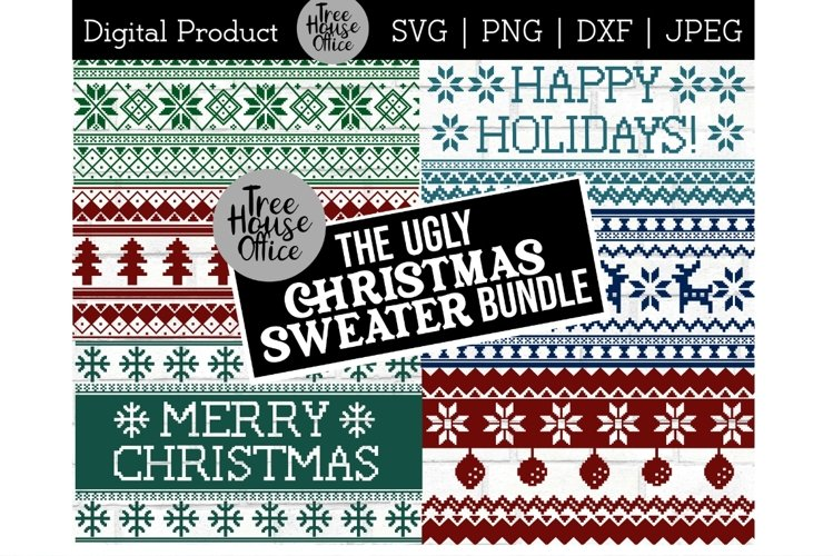 Ugly Christmas Sweater svg, Nordic Winter Pattern SVG PNG example image 1