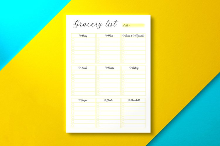 Grocery List, PDF Yellow KDP Interior example image 1