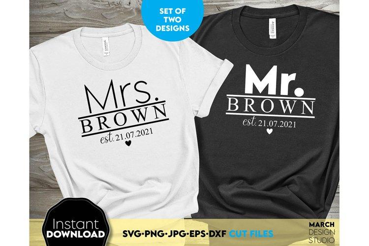 Wedding sign svg file, Mr and Mrs SVG, wedding shirt svg example image 1