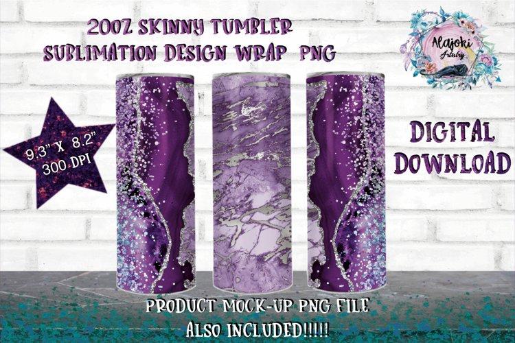 Full Wrap Purple Marble 20oz Skinny Tumbler Sublimation