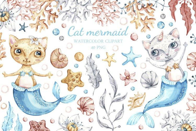 Watercolor Cat Mermaid clipart. Seashells marine clip art. example image 1