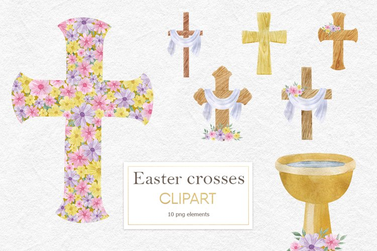 Watercolor christian cross clipart, Wood Cross clipart