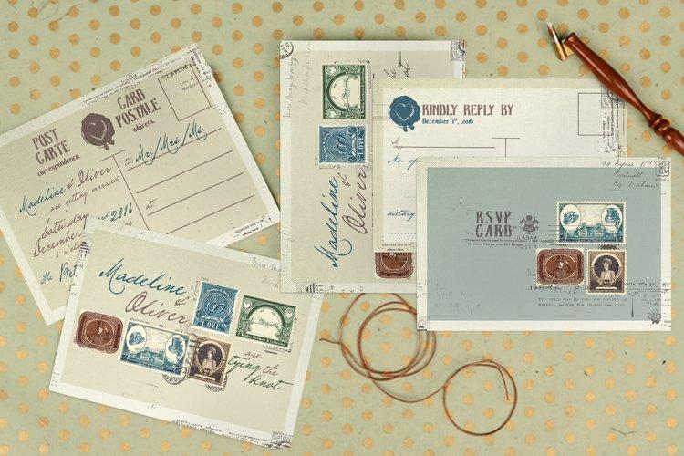 Vintage Stamp Wedding Invitation example image 1