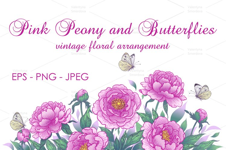 Vintage Pink Peony Flowers and Butterflies