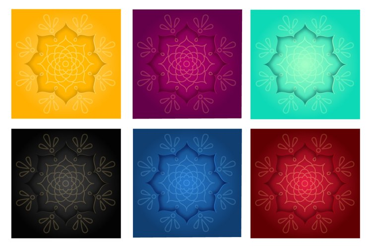 Big set Indian design card with rangoli and mandala pattern