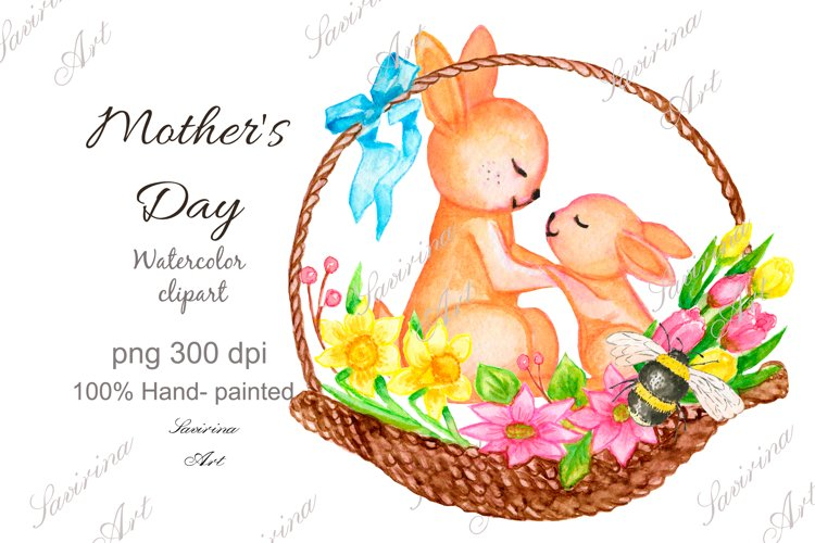 Watercolor clip art rabbit, Mothers Day, Spring clipart.Mom