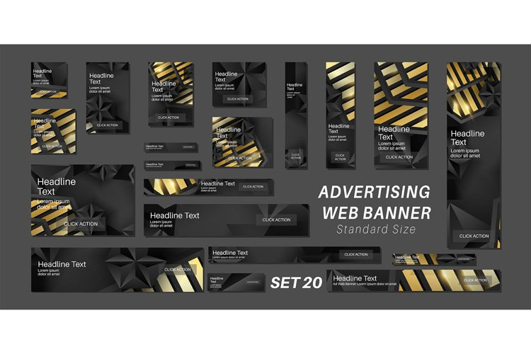 Set black gold vector ad web banners . standard size