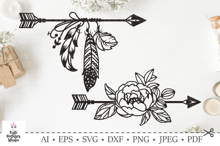 Set of arrows with feathers, flowers.SVG bundle. Boho style.