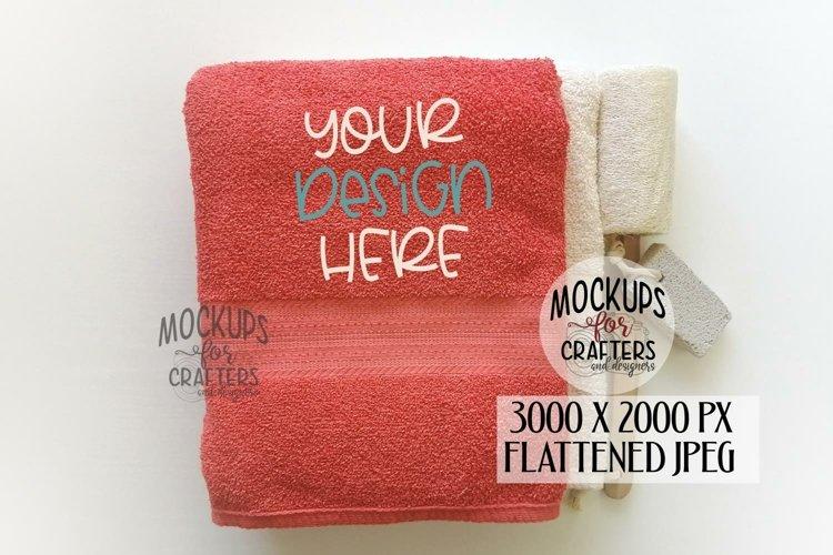 Bath Towel, Coral Towel, MOCK-UP