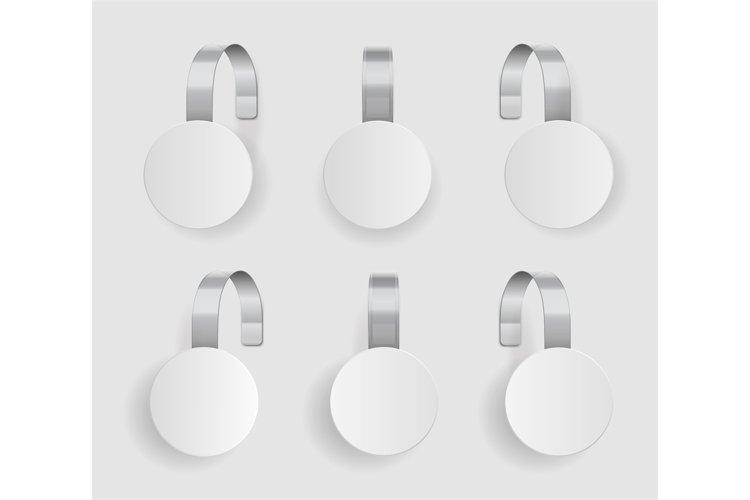Shape wobbler. Blank white wobbler hang on wall mock up, 3d. example image 1