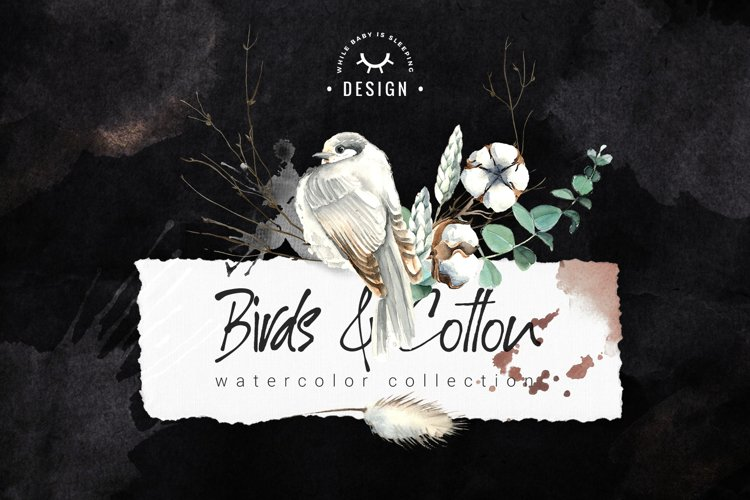 Birds and Cotton Watercolor Set example image 1