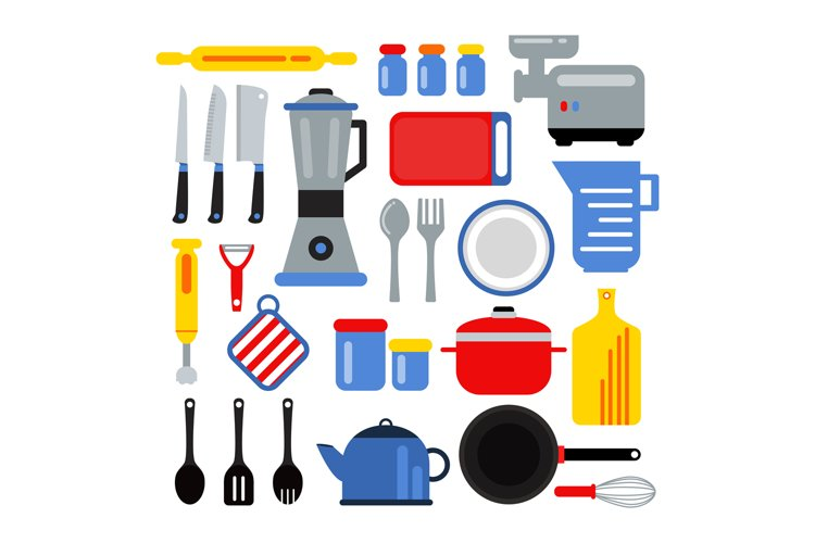 Kitchen equipment for cooking. Vector illustrations set in f