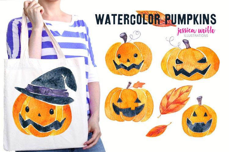Watercolor Halloween Pumpkins   Leaves