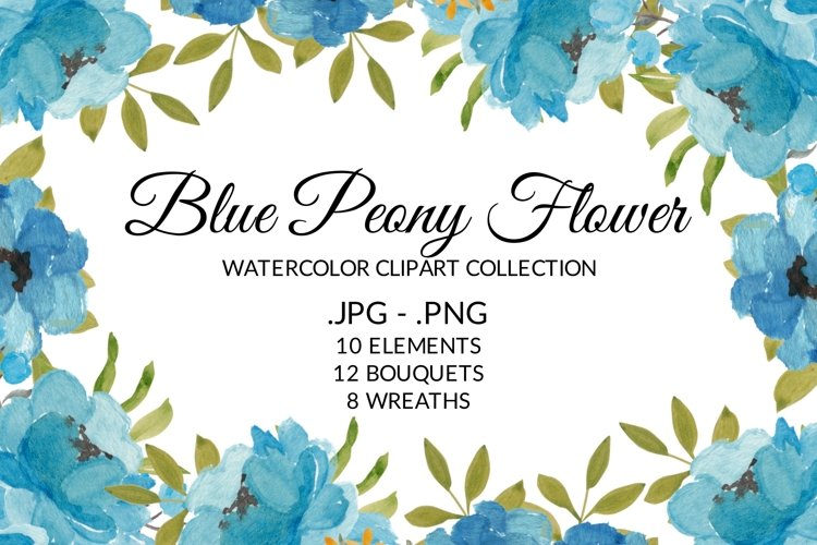 Blue Peony Flower Watercolor Clipart Collection example image 1