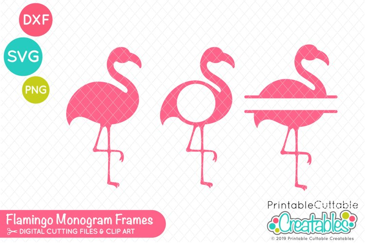 Flamingo Monogram Frame SVG Set example image 1
