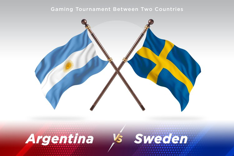 Argentina vs Sweden Two Flags example image 1