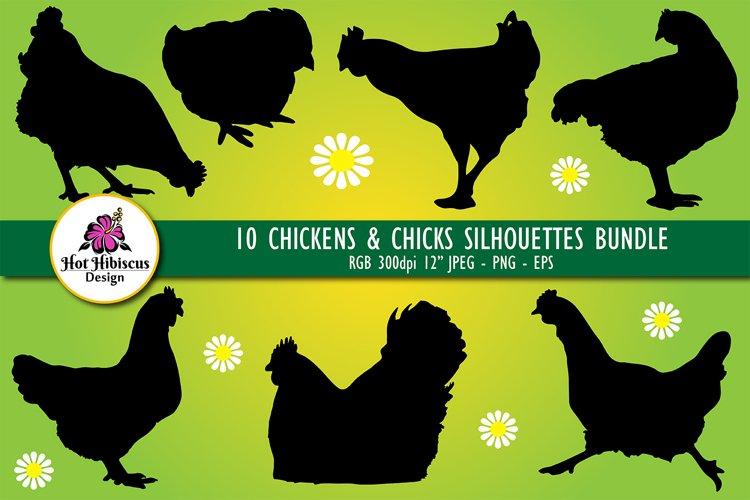 Chicken Silhouettes, Vector Chicken Silhouette Clipart