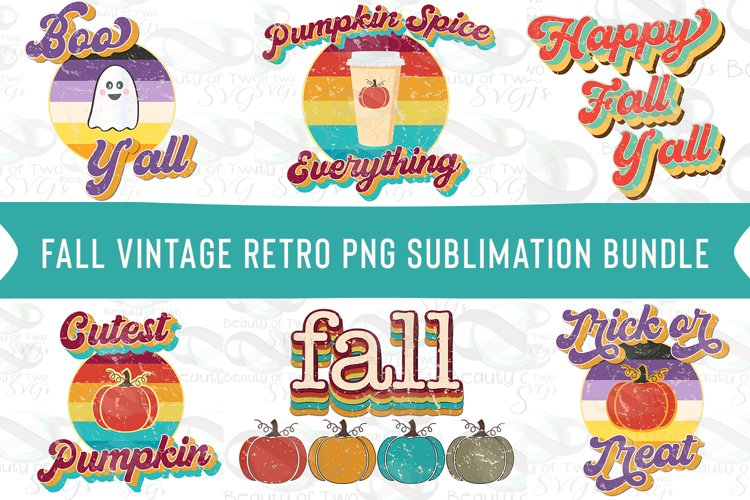 Fall Sublimation Png Bundle, Retro Distressed 6 png designs