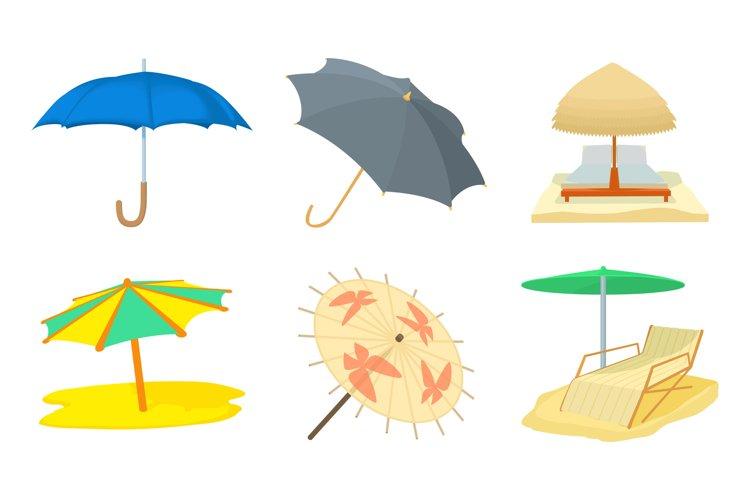 Umbrella icon set, cartoon style example image 1