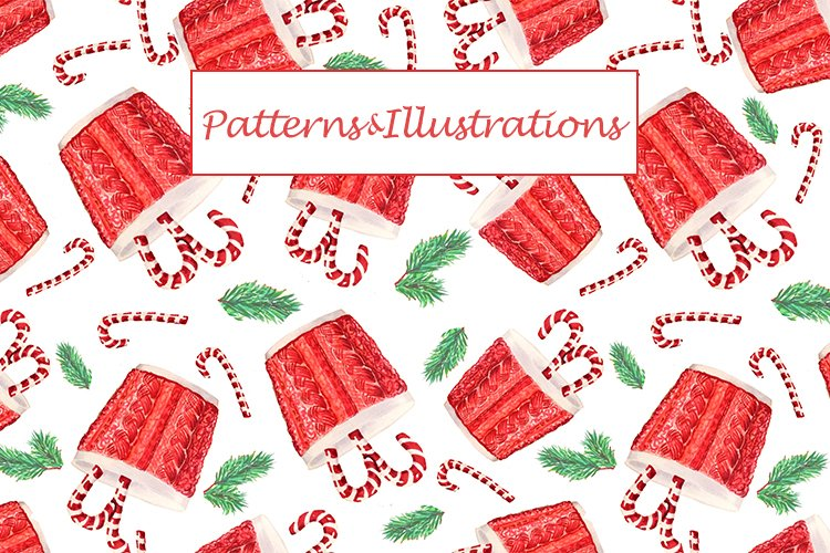 Watercolor christmas & new year patterns and illustrations