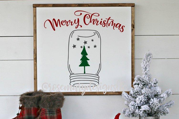 Merry Christmas mason jar snow globe - SVG example image 1