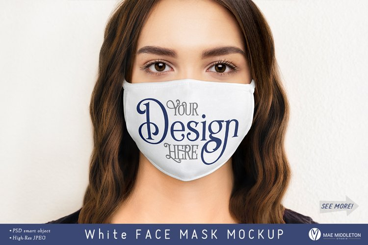Face Mask mockup, female | psd & jpg example image 1