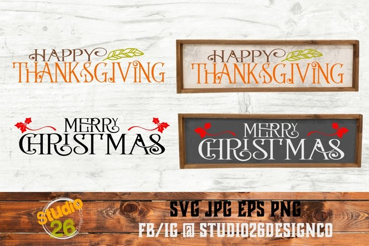 Thanksgiving & Christmas SVG Bundle- 2 Files - SVG PNG EPS example image 1