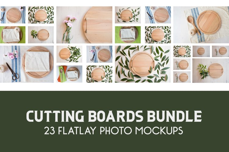 Wood Round Bundle of Layflat Mockups, Wooden Cutting Boards example image 1