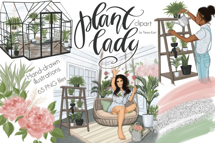 Plant Lady Clipart Graphic Design example image 1