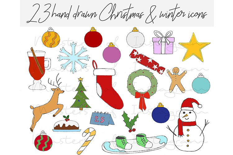 23 Hand Drawn Christmas Xmas Winter Icons example image 1