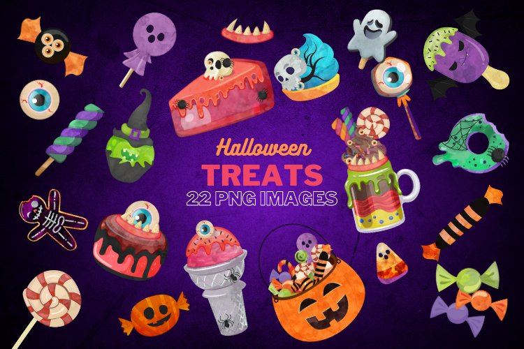 Watercolor Halloween Candy Clipart, Creepy Treats