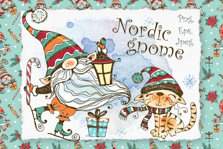 Winter clipart Nordic gnome Png and cute cat, Christmas card