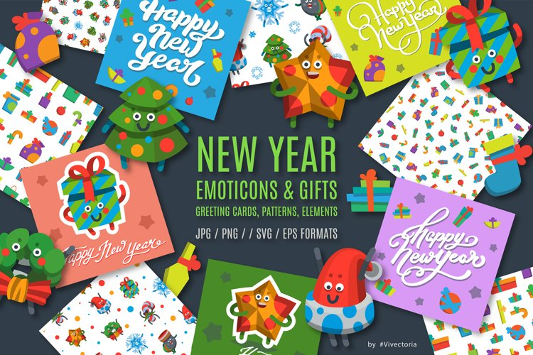 New Year Emoticons & Gifts set