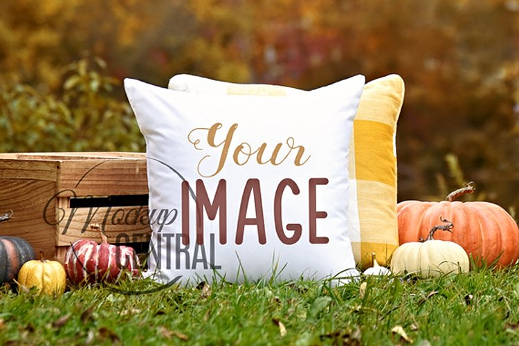 Country Nature Square White Mockup Pillow, JPG example image 1