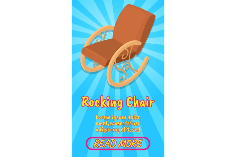 Rocking chair concept banner, comics isometric style example image 1