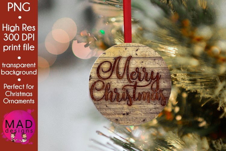Merry Christmas - Rustic Wood Slice Christmas Ornament example image 1