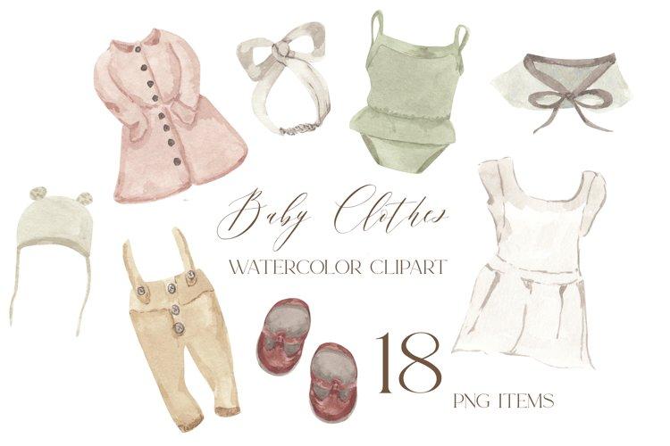 Baby clothes clipart, watercolor newborn vintage