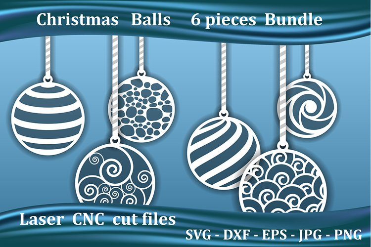 Christmas balls, laser cut files for CNC or Cricut example image 1