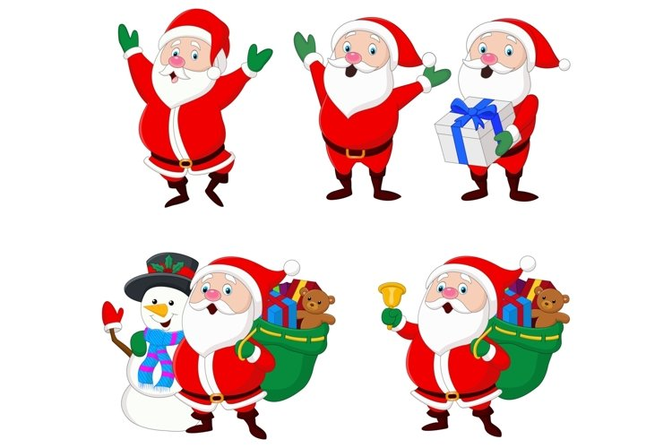 Cartoon Christmas Santa Claus Vector Set