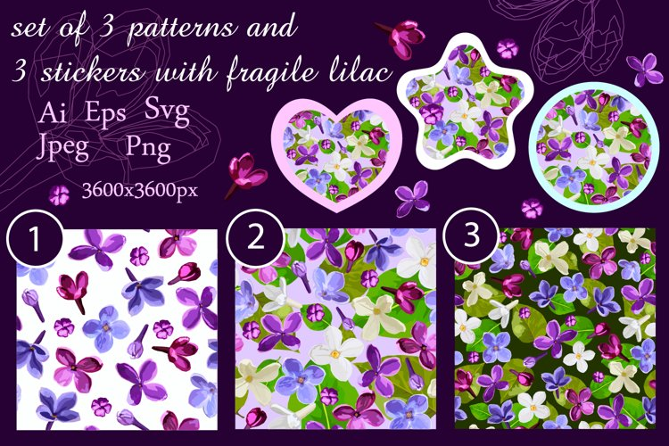 set of 3 patterns and 3 stickers with fragile lilac
