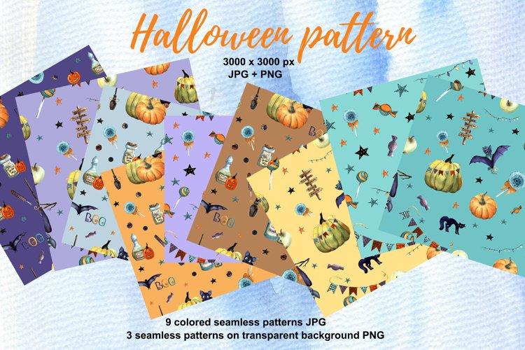 Halloween patterns. Watercolor halloween digital paper