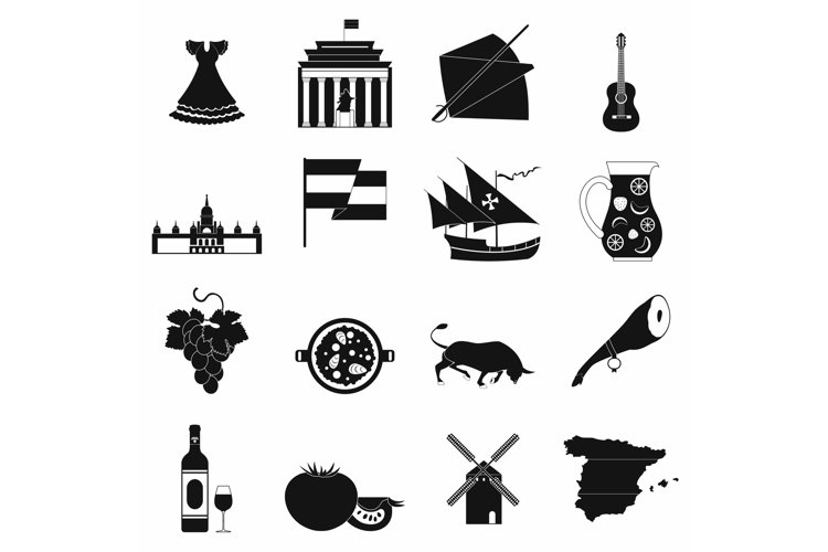 Spain icons black example image 1