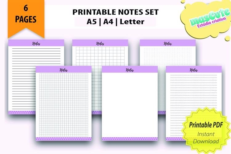 Printable Notes Page Set , Planner Inserts example image 1